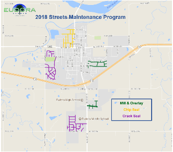 2018 Streets Program Map with title and key